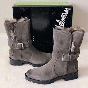 ✨New SAM EDELMAN Jeanie Moto Suede Faux Fur Boots